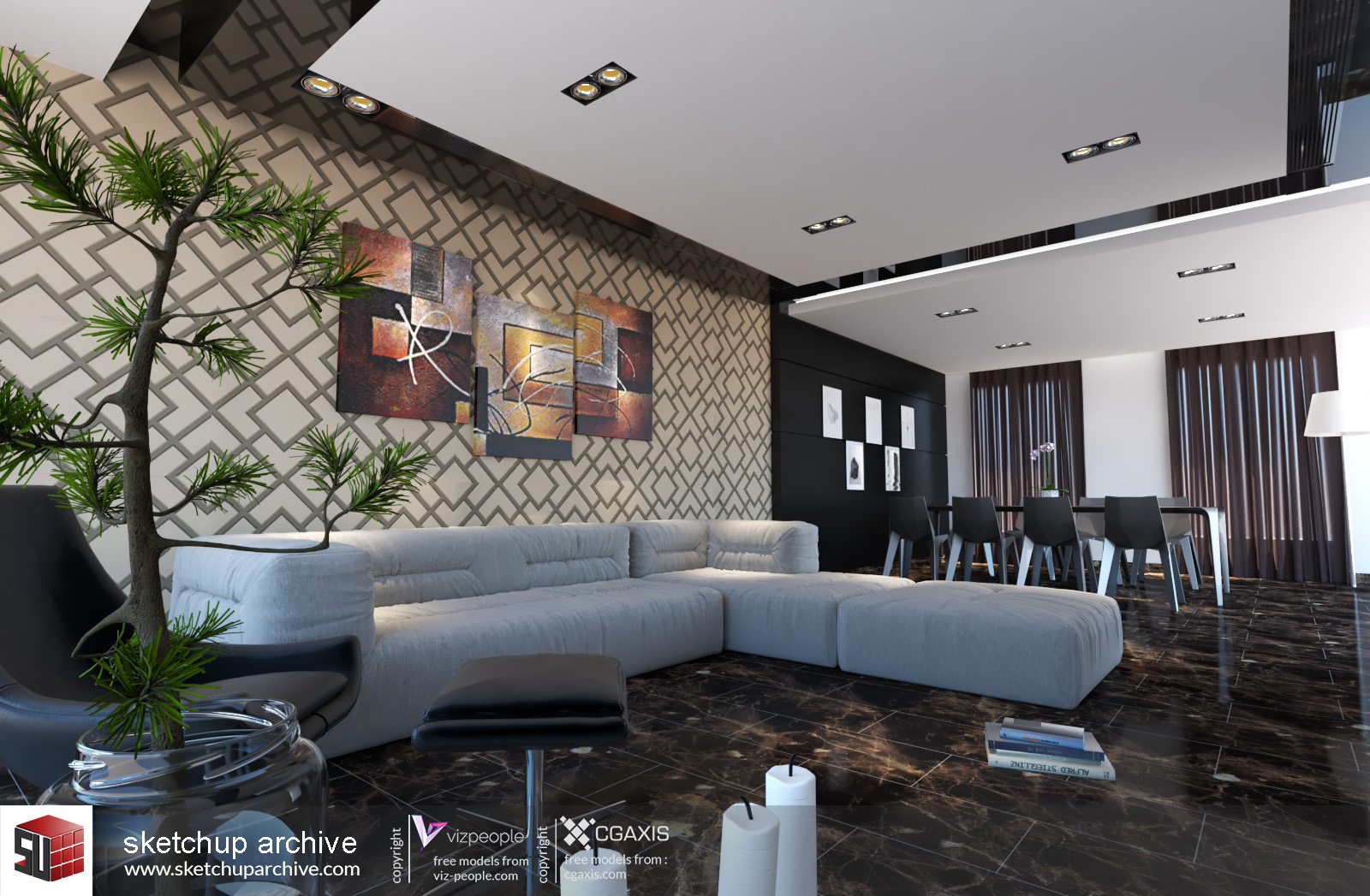 Living Room 3 - Sketchup Archive
